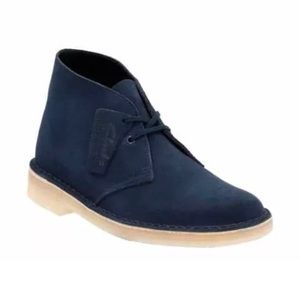 Clarks Chukka Blue Suede Lace Up Desert Boots